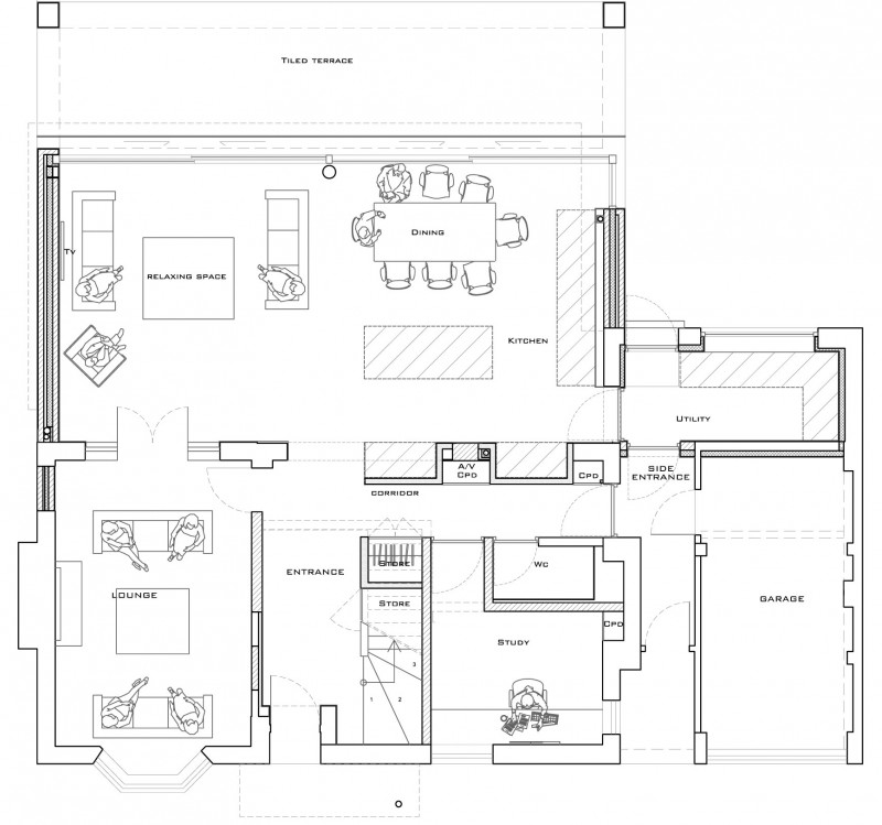Living Dining Drawing Plan Modern House Plans Free: Pretentious White And Neutral Decorating Modern Residence