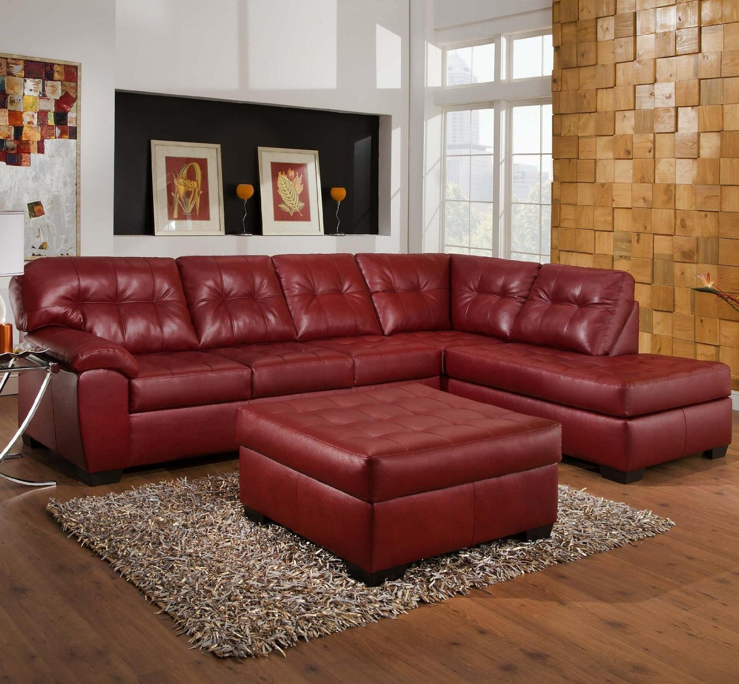 Attractive Red Leather Sofa for Interior Living Room ...