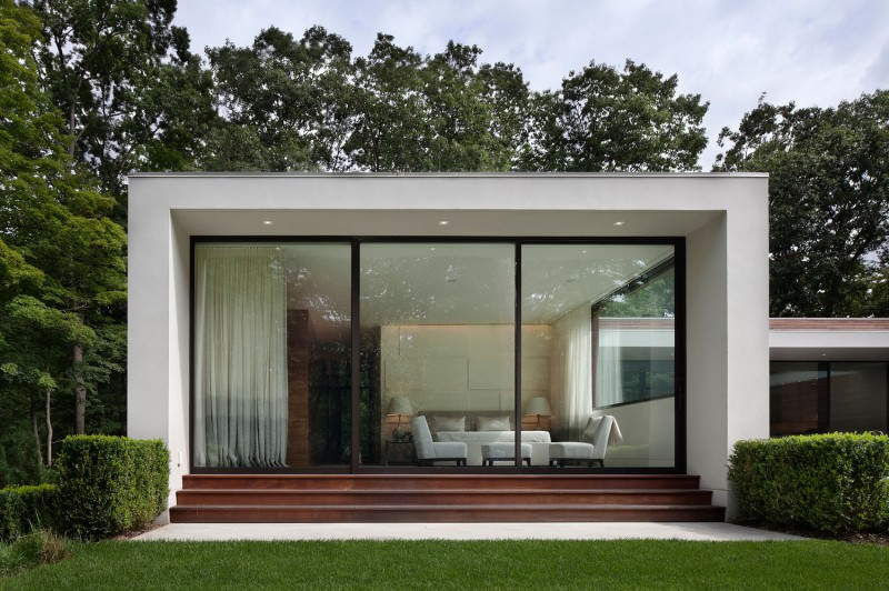 Appealing Wooden Glass Windows in White Painted Wall and Dark Gold Stairs in front of It Installed in New Canaan Residence