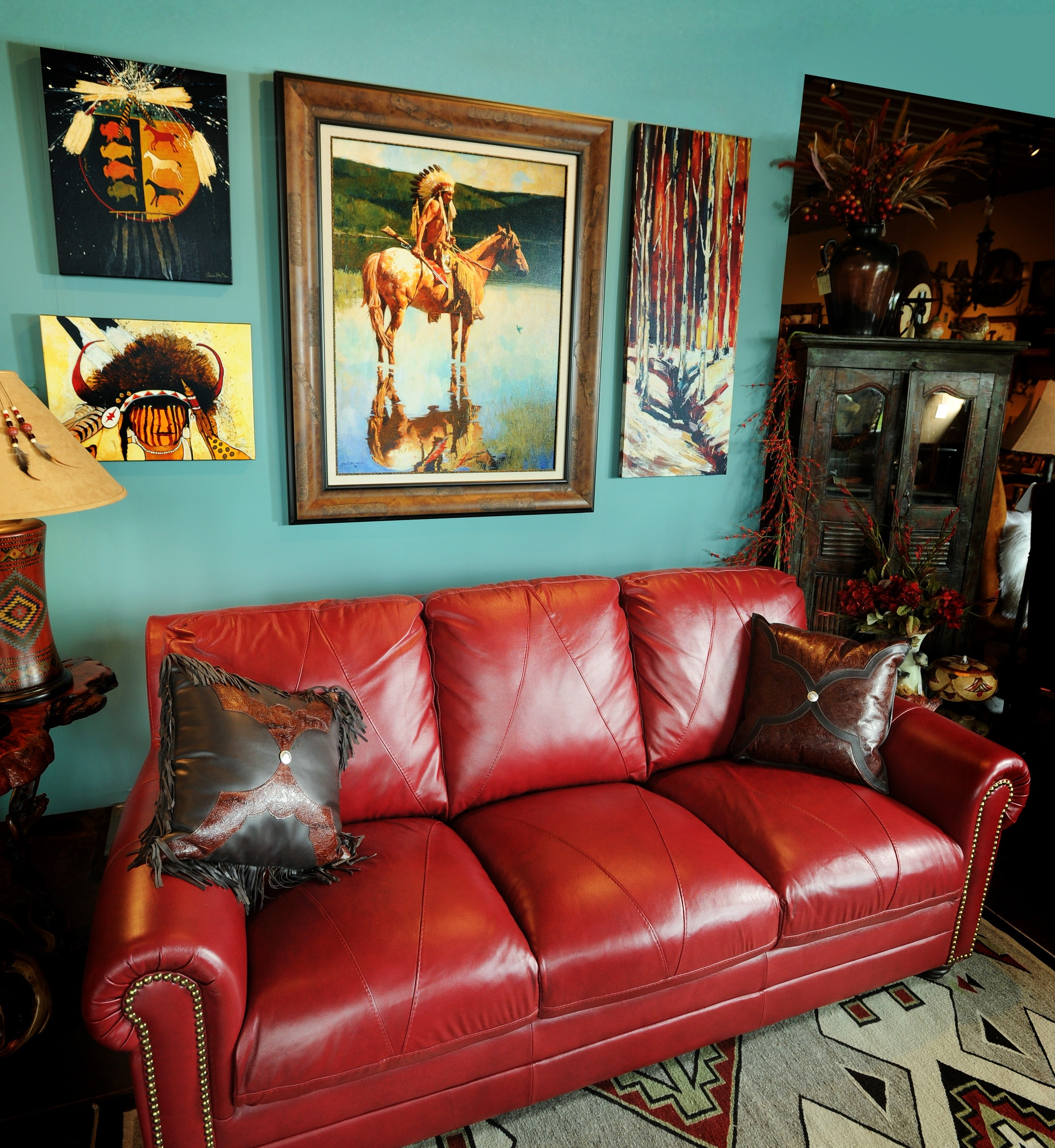 Attractive red leather sofa for interior living room for Decorating with blue leather couches