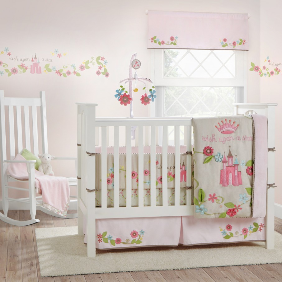 bedspread bed crib girl wall pink stunning and in decal magenta the baby beautify designed interior completed to color bedding patterned with feminine floral