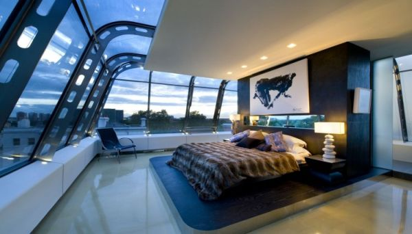 Fabulous contemporary home with glass elements housebeauty for Glass ceiling bedroom