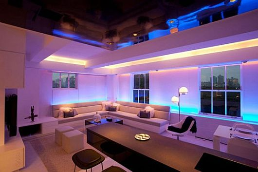 Perfect Black And White Room Design Combined With Led