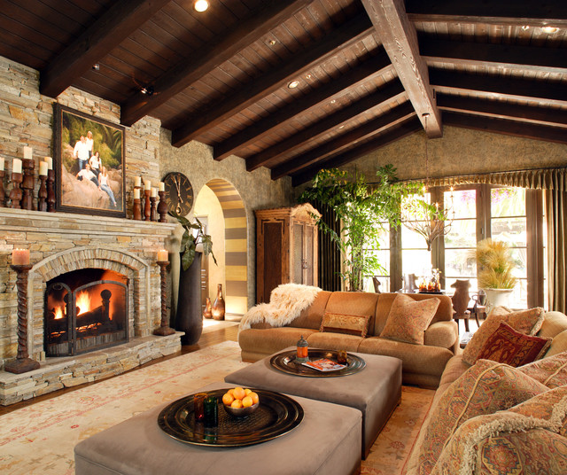 Inspiring Stone Fireplace Design For Contemporary Room