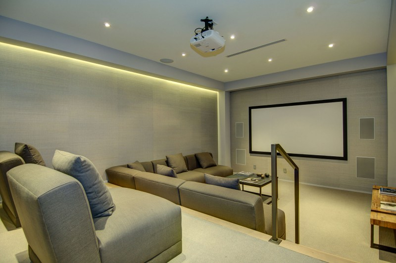 Simple Gray Railing and Gray Lounge in Dining Room with Spectacular Views Over Los Angeles Completed White Projector