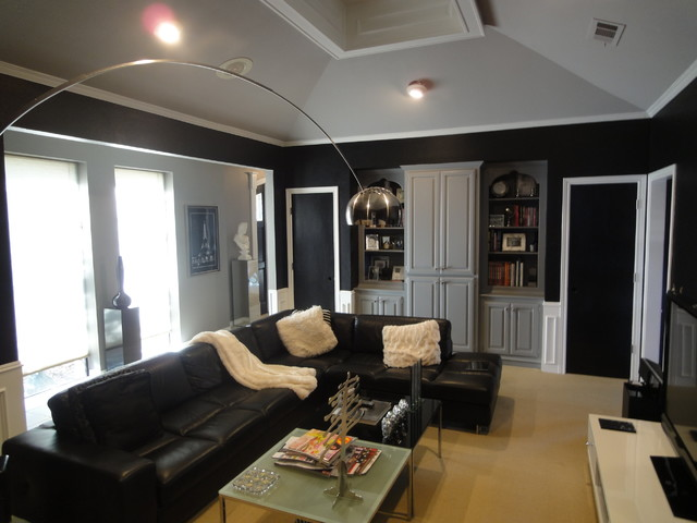 Casual black sectional sofa to make interior look more modern housebeauty for How to make my living room look more modern