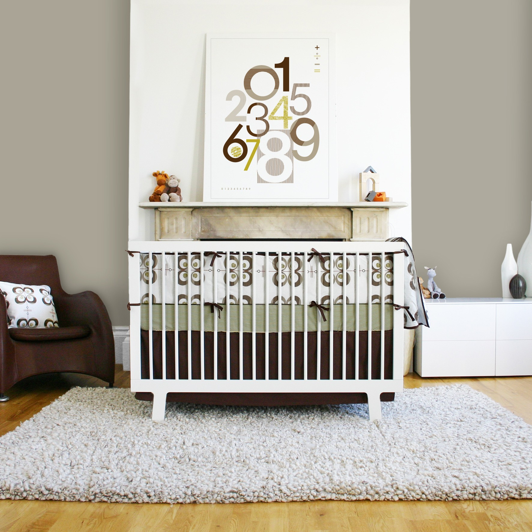 The Minimalist Design Of This Frame Has Exposed The Dotty And Striped  Pattern Of The Baby Crib Bedding Sets Which Can Improve The Modern Look Of  This Baby ...
