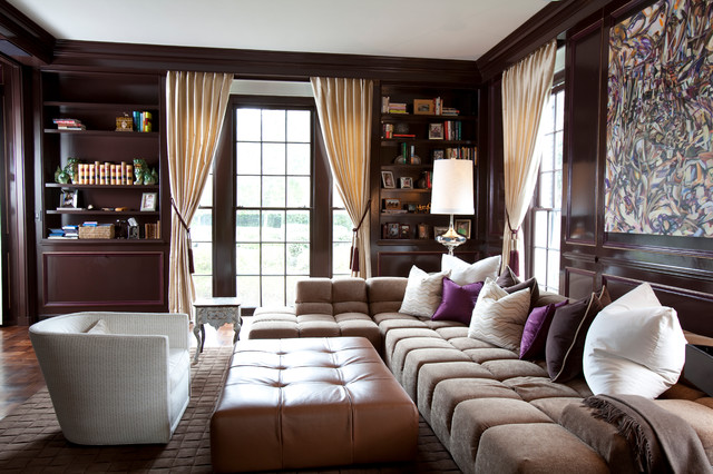 Transitional Brown Tufted Sleeper Sectional Sofa Idea with White Barrel Shaped Chairs Facing Artistic Painting Idea