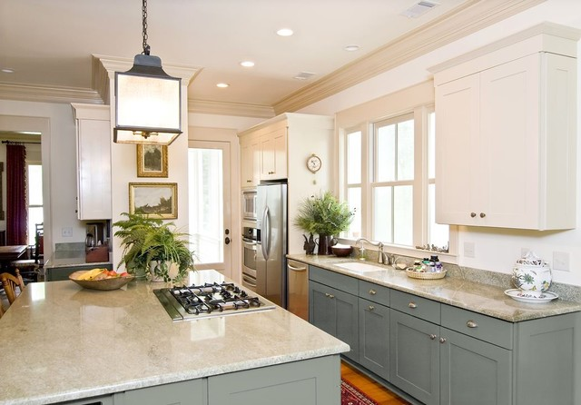 Image result for two tone kitchen cabinets green