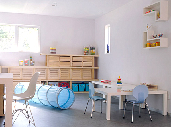 Wonderful Airy Playroom Design Interior in Kids Playroom Decor with Wooden Furniture Used Modern Design Ideas