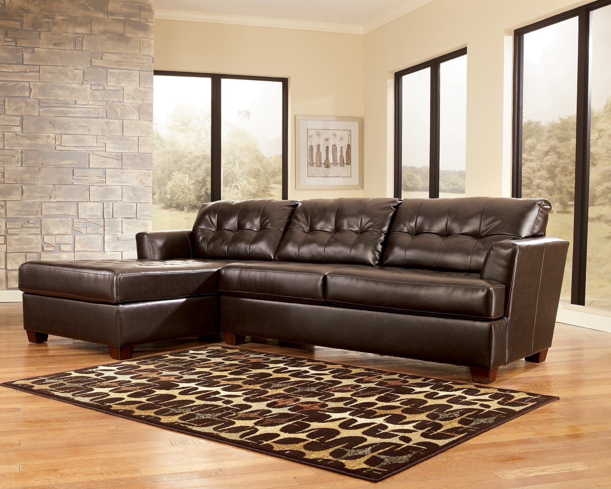 Inspiring leather sleeper sofa for furnishing our living for Living room with leather sectional