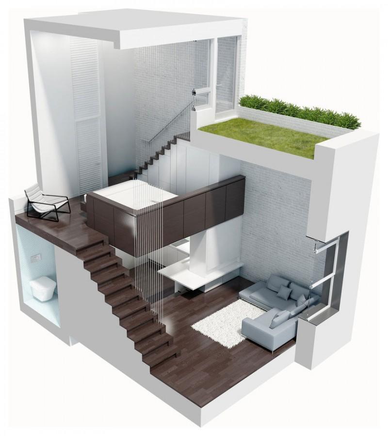 Inspiring small apartment design to utilize more space for Apartment mini model