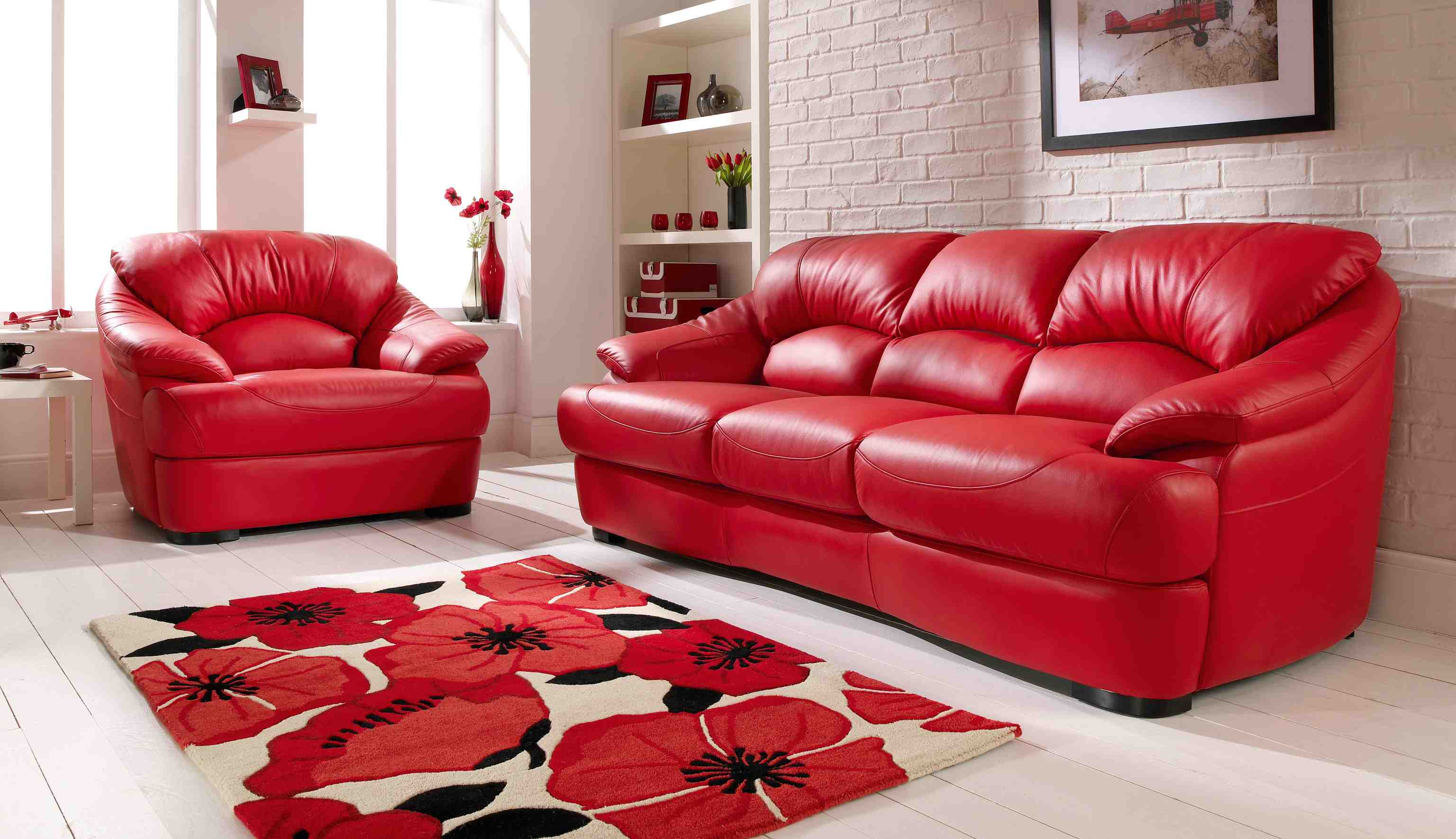 Adorable Red Leather Sofa Collection