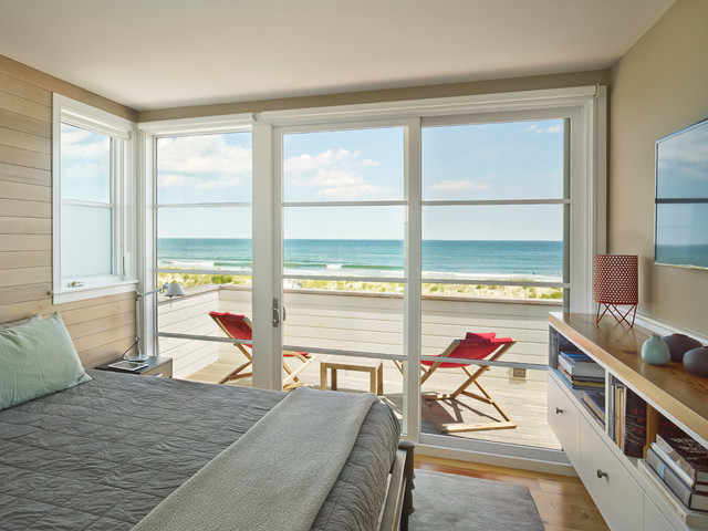 Fresh atmosphere from white wooden glass windows for beach for Beach glass interior designs
