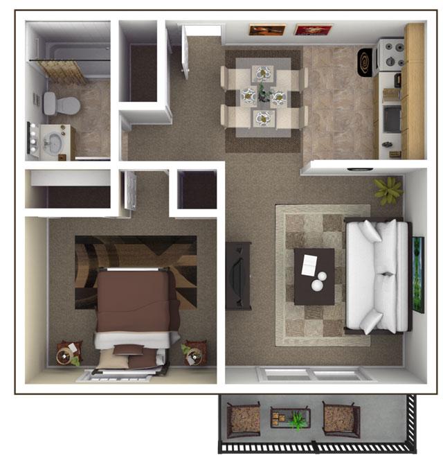Stirring one bedroom apartment floor plans with a pretty for Small 1 bedroom apartment floor plans