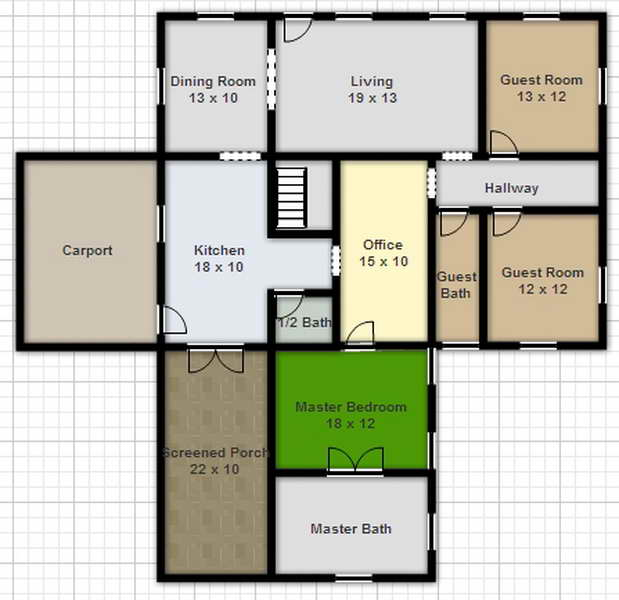 Digital smart draw floor plan with smartdraw software for Free architectural drawing program