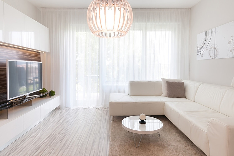 Fancy Minimalist Apartment Furniture In Stunning White Color