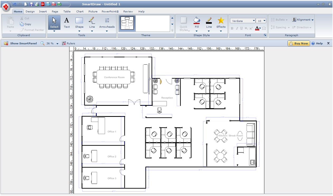 Digital smart draw floor plan with smartdraw software for Floor plan drafting software