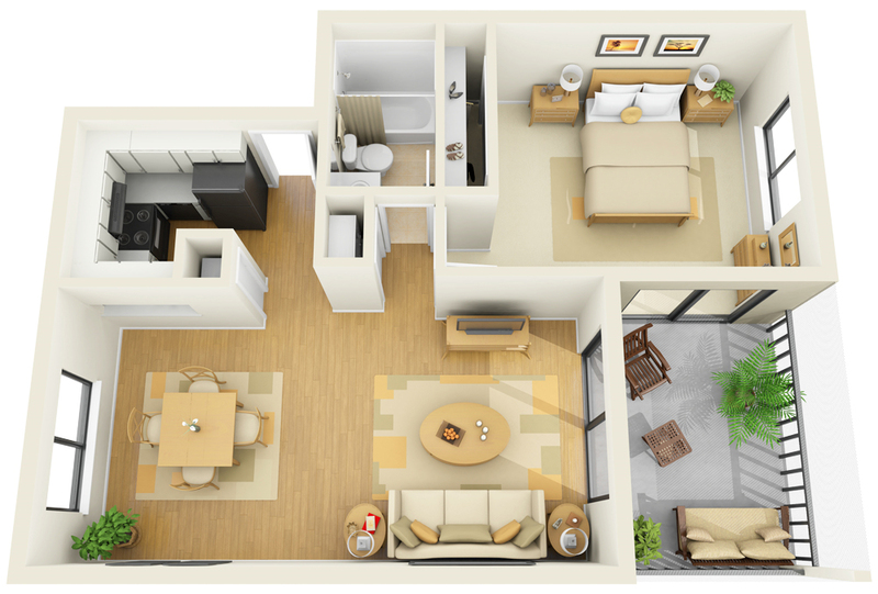 Stirring One Bedroom Apartment Floor Plans with a Pretty White ...