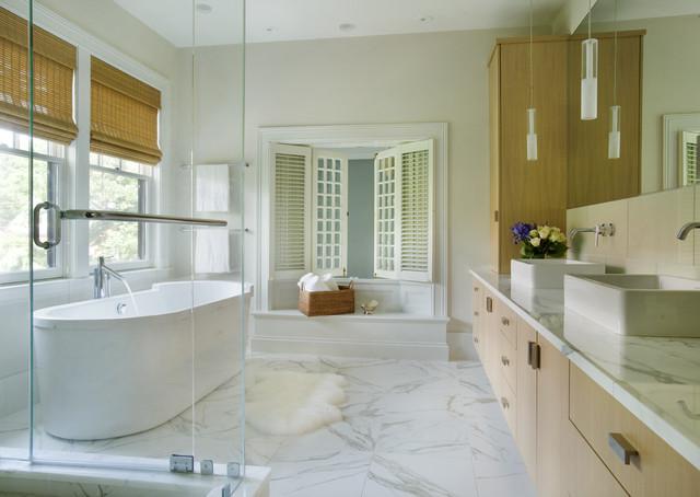 Iconic Modern Bathroom Plans With Sleek White Marble Floor Sleek Glass Wall Rectangular Bathtub Bamboo Blind Compact Bathroom Vanity