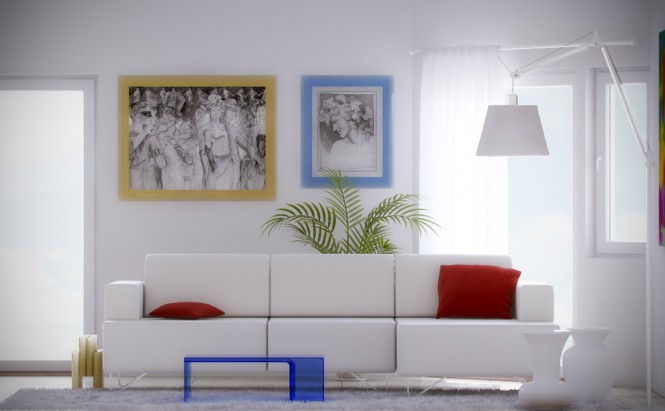 amazing colorful interior design with white palette and