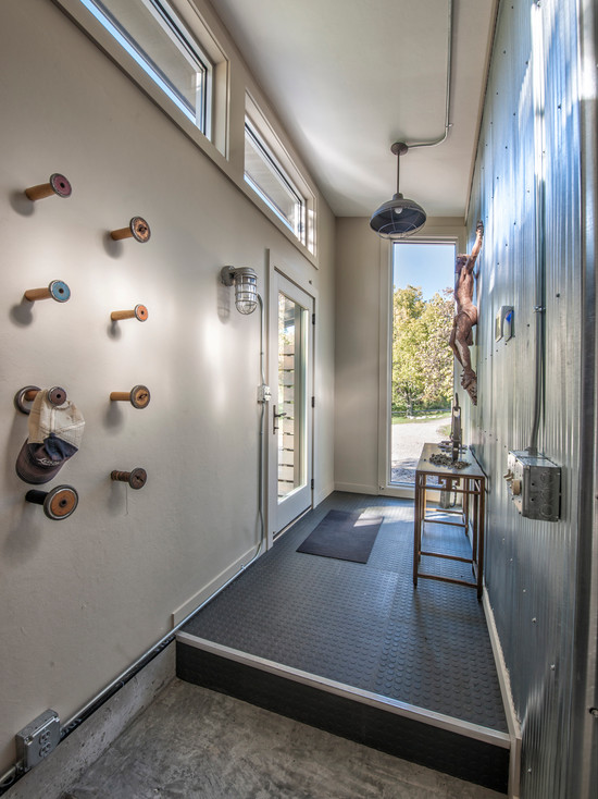 Industrial Entry With Cute Wood Wall Hooks And Funky Coat Racks Old Bowl Pendant Light Dark Mosaic Floor Tile Glass Door on Simple Electrical Wiring