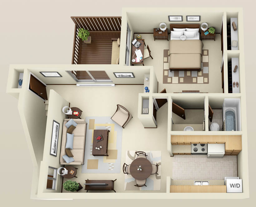 Stirring one bedroom apartment floor plans with a pretty for Modern 1 bedroom apartments