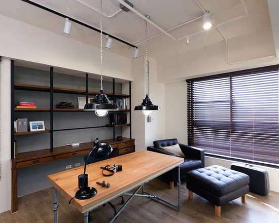 Masculine office decoration ideas for men who live in for Home office lighting ideas
