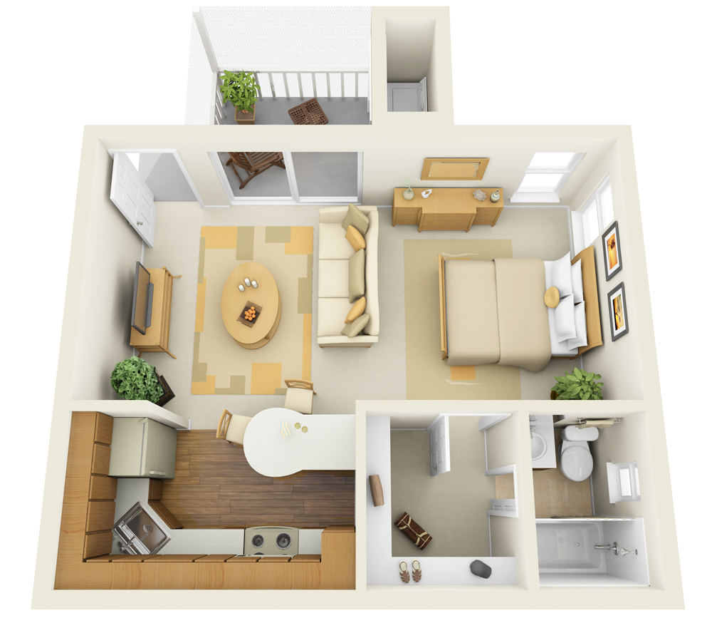 Stirring One Bedroom Apartment Floor Plans With A Pretty White