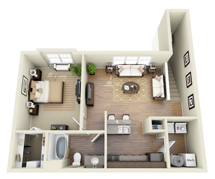 One Bedroom Apartment.  be mentioned as one of the most simple yet delightful small studio apartment floor plans based on its creative arrangement and decoration for each room Stirring One Bedroom Apartment Floor Plans with a Pretty White