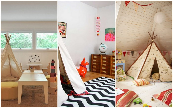 stunning native american tepee childrens playrooms with wood table and