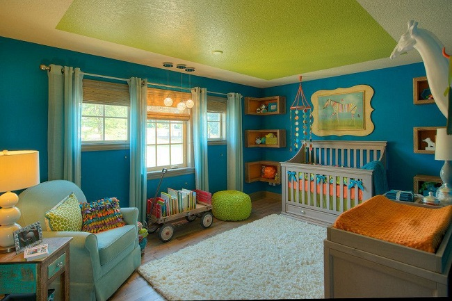 Beautiful Kids Bedroom Green Color Bloque Ceiling Design