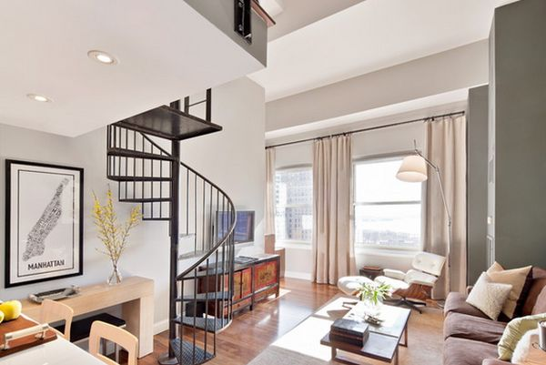 Black Steel Railing Spiral Staircase Design