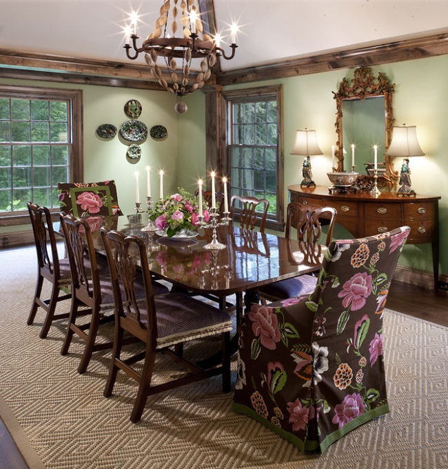 Colors with Beautiful Floral Pattern Dining Room