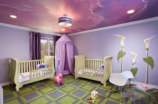 Geometric Carpet Wall Mural and Ceiling for Kids Bedroom