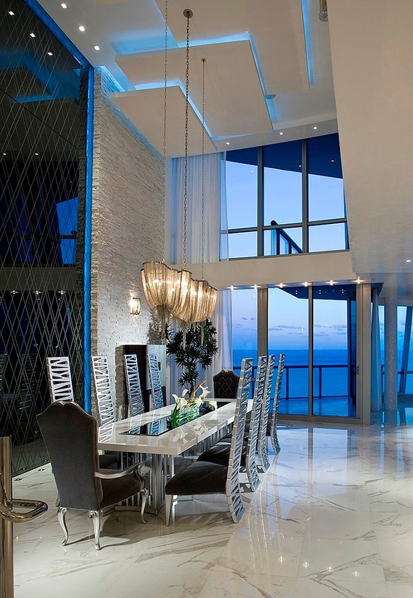 Glittery Flooring Along with the Tall Glass Windows