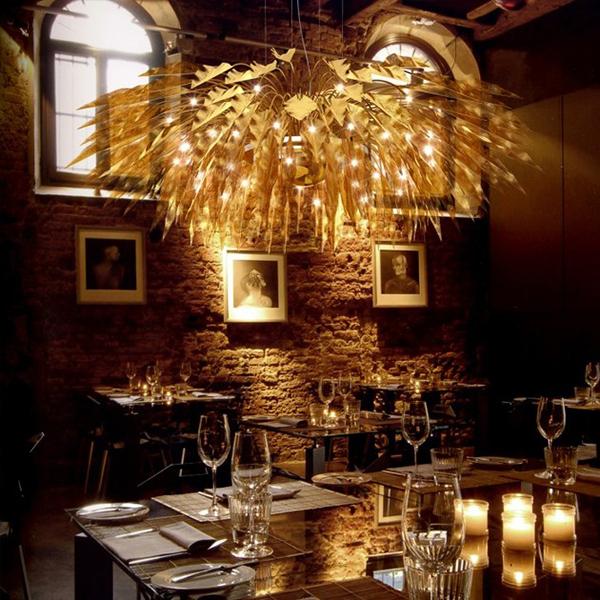 Hanging Basket Chandeliers in Restaurants with Classic Interiors