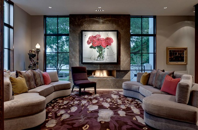Living Room Fireplace with Roses Wall Art and Curved Sofa