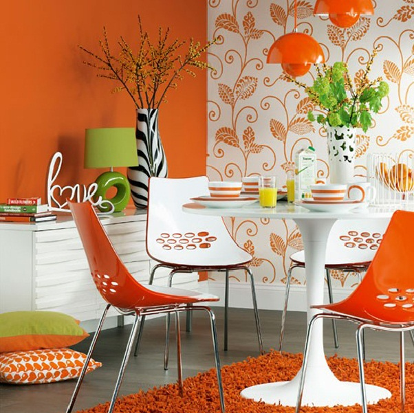 Modern Orange Dining Room