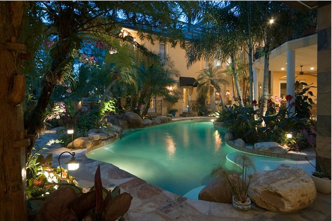 Phenomenal Tropical Landscape Designs with Garden and Pool