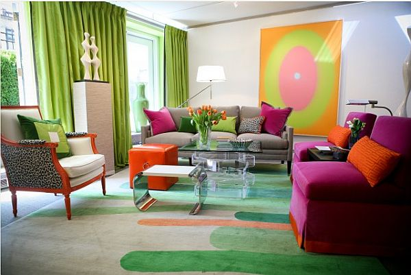 Pink and Green Combination Living Room