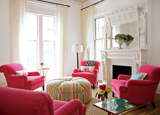 Pink and Green Combination Sofa and Ottoman Table
