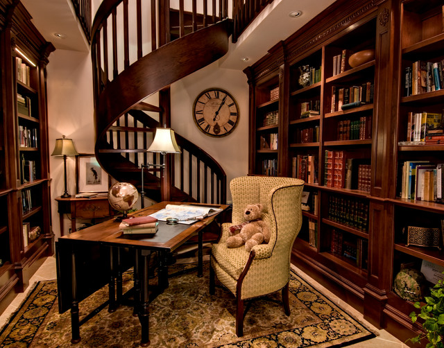 Traditional Home Office Spiral Staircase Design