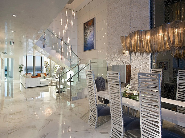 White Dining Table and Six Creatively Sculptured Dining Chairs