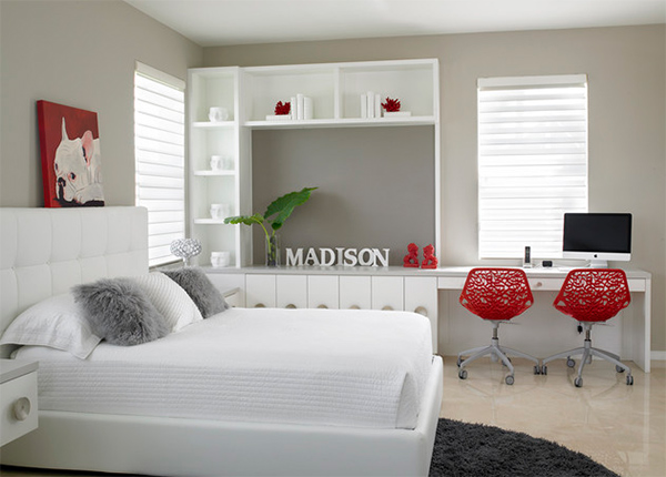 White and Grey Bedroom Decoration with Letters