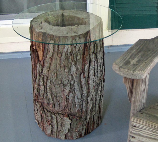 Glass Tree Trunk Table
