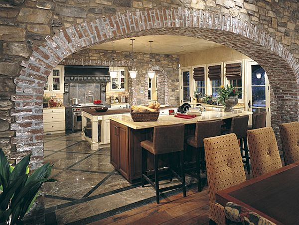 Stone-arched wall kitchen