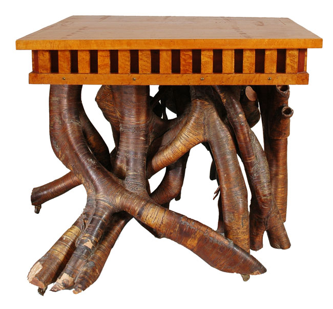 Log Holding Tree Trunk Table