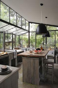 High Window Rustic Kitchen