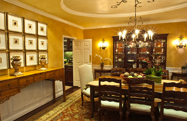 Brown House Dining Room Gold Accents Design